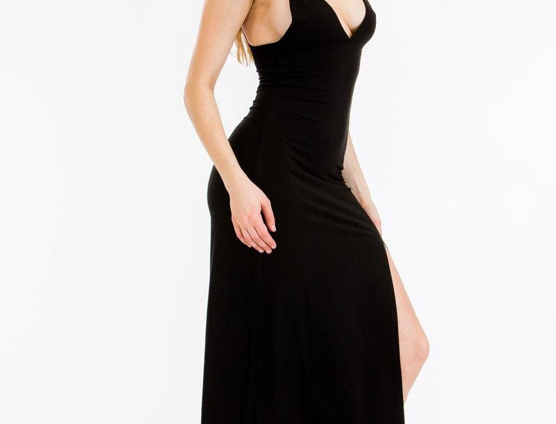 Cami Maxi Dress - A stretch knit dress plunging v-neck line and