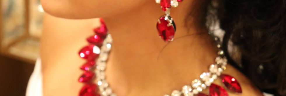 Red Necklace, Red Rhinestone Necklace and EarringsSet.