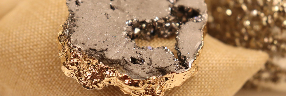 SILVER Druzy Quartz Pendant Long Necklace  - Sparkly Healing Crystl