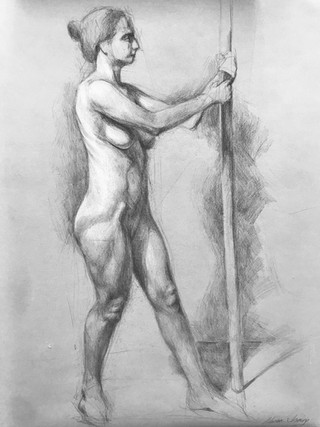 Woman Leaning on Pole (2019)