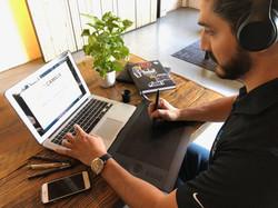 Designer working on logos