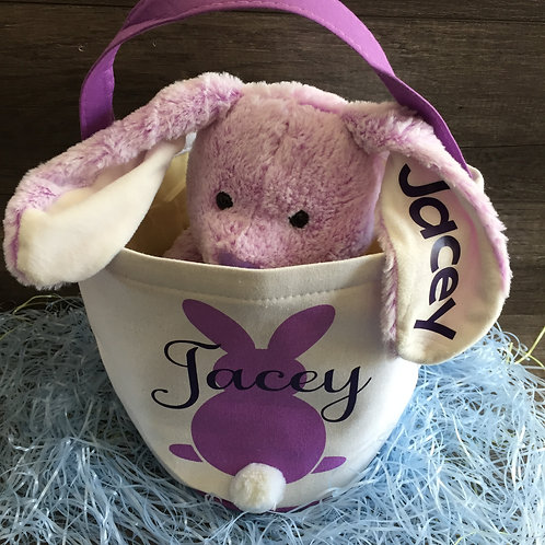 13 inch Fluffy Bunny with Custom Name
