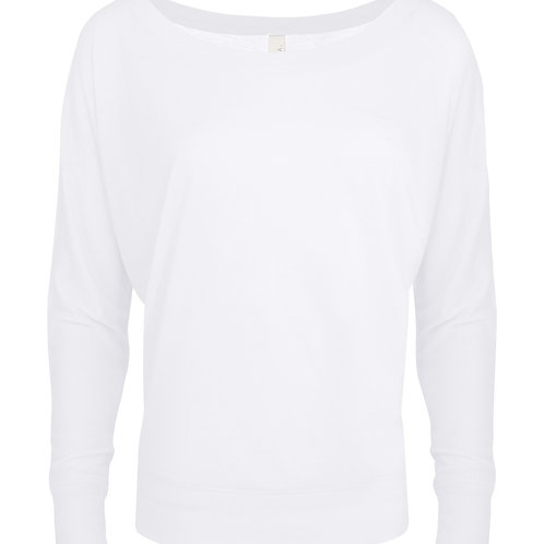 Bella + Canvas Flowy Off-Shoulder Long Sleeve Tee - white