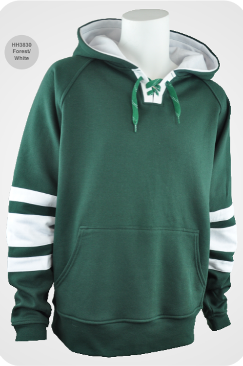 Retro Youth Hockey Hoodie - Forest / White