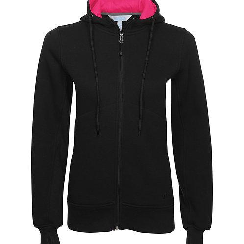 ATC Pro Fleece Full-Zip Hooded Ladies Sweatshirt - black/raspberry