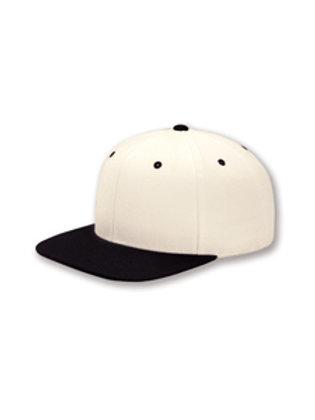 Flat Bill Snapback Hat - Natural / Black