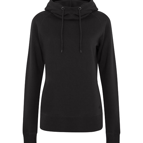 ATC Pro Fleece Funnel Neck Hooded Ladies Sweatshirt -black