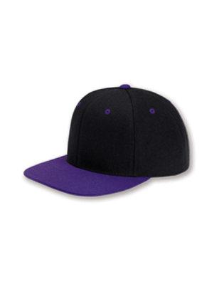 Flat Bill Snapback Hat - Black / Purple