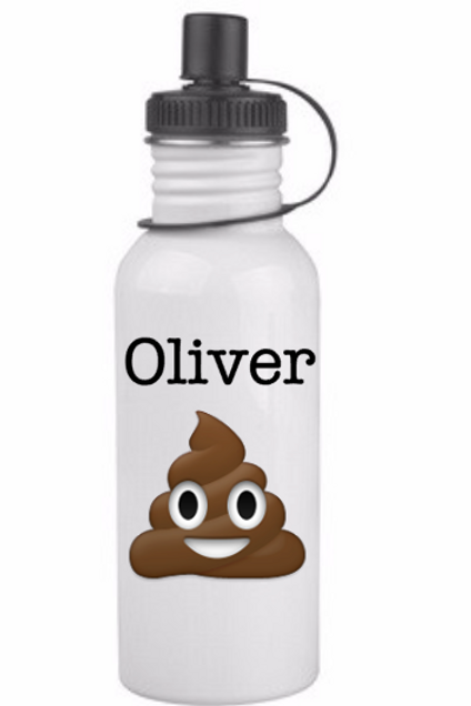 Custom Emoji with Name, stainless steel water bottle, wh
