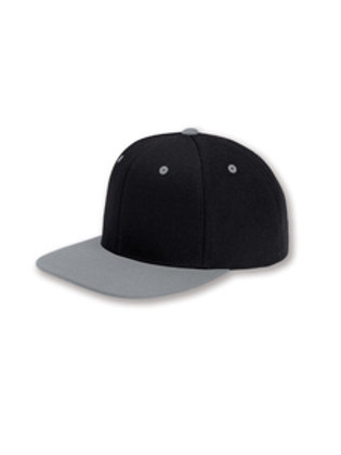 Flat Bill Snapback Hat - Black / Grey