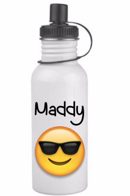 Custom Emoji with Name, stainless steel water bottle, white