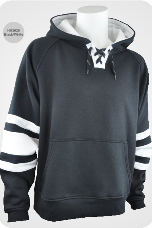 Retro Youth Hockey Hoodie - Black / White