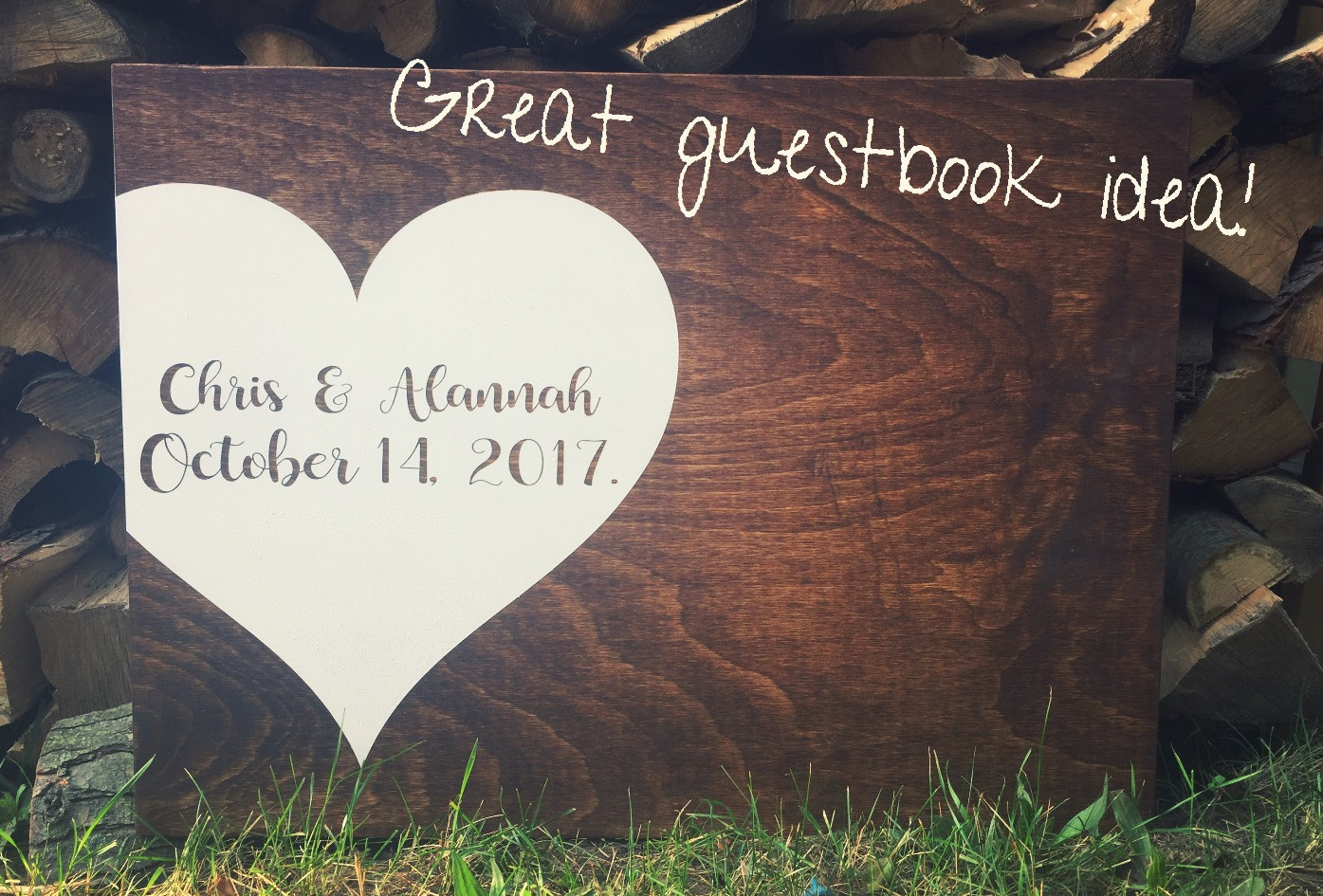 Personalized Wood Wedding Guestbook.