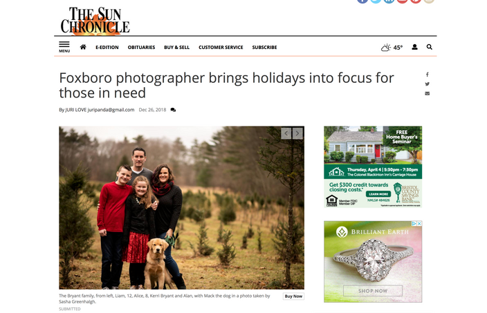 """""""Foxboro Photographer Brings Holidays into Focus for Those in Need"""" Sun Chronicle"""