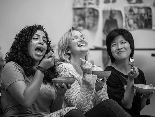 Women Laughing Alone With Salad - Shotgun Players