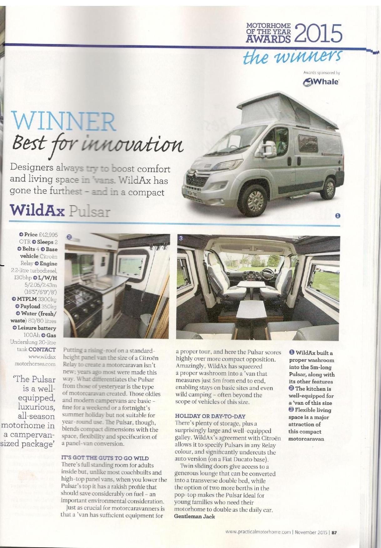 6e3e2603ce WildAx wins award - Practical Motorhomes 2015 Award for Best Innovation!