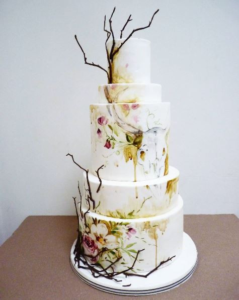 Autumn painted wedding cake