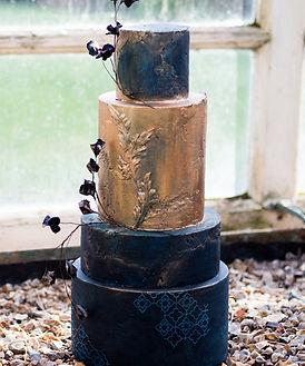 navy antique gold wedding cake