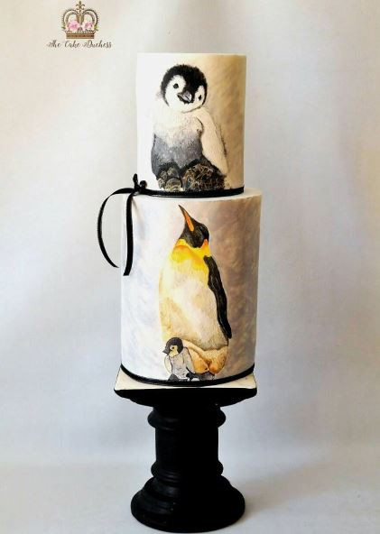 penguin painted cake
