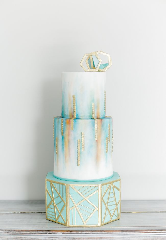 Mosaic painted cake for a wedding