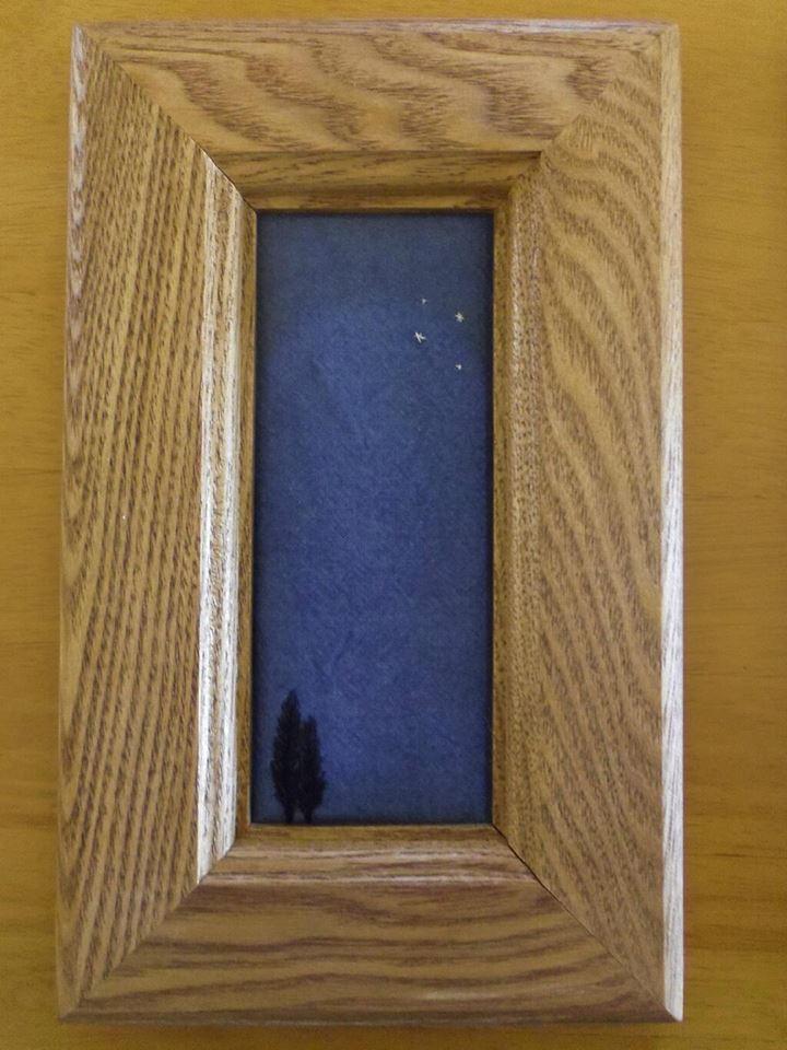 布 布絵 額絵 木製額 刺繍 木 夜空 art 空 風景