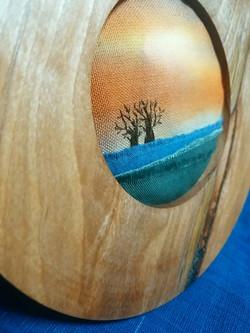 布絵 バオバブ 木 刺繍 染色