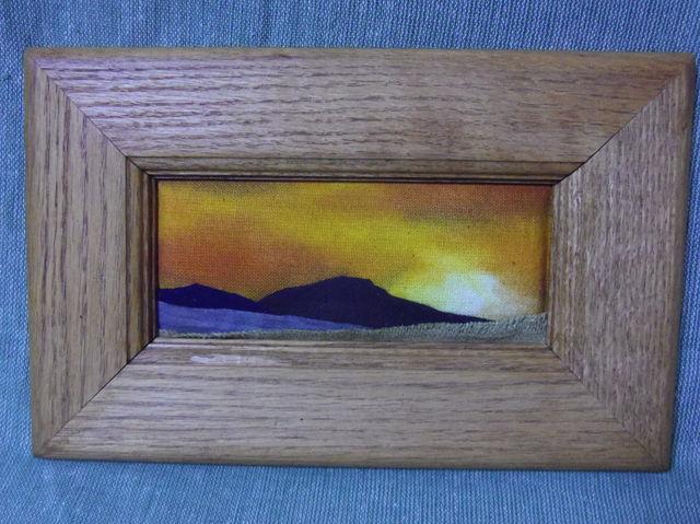 布 布絵 額絵 木製額 刺繍 山 mountain art 空 風景