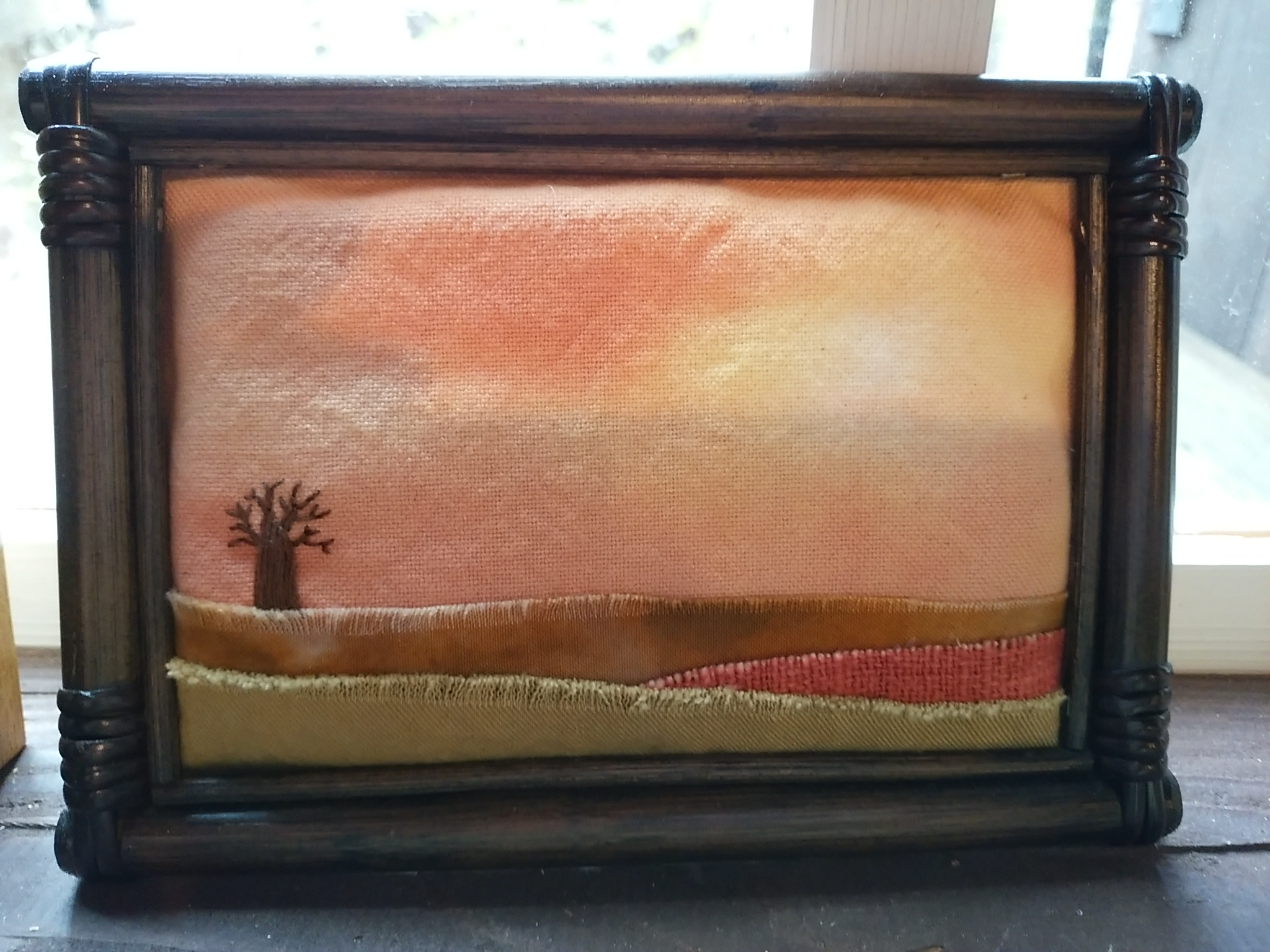 布絵 額絵 竹額 刺繍 art 空 木 バオバブ 風景