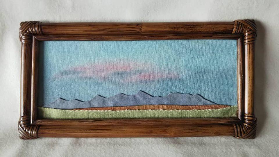 布絵 額絵 竹額 刺繍 山 山岳 mountain art 空  風景