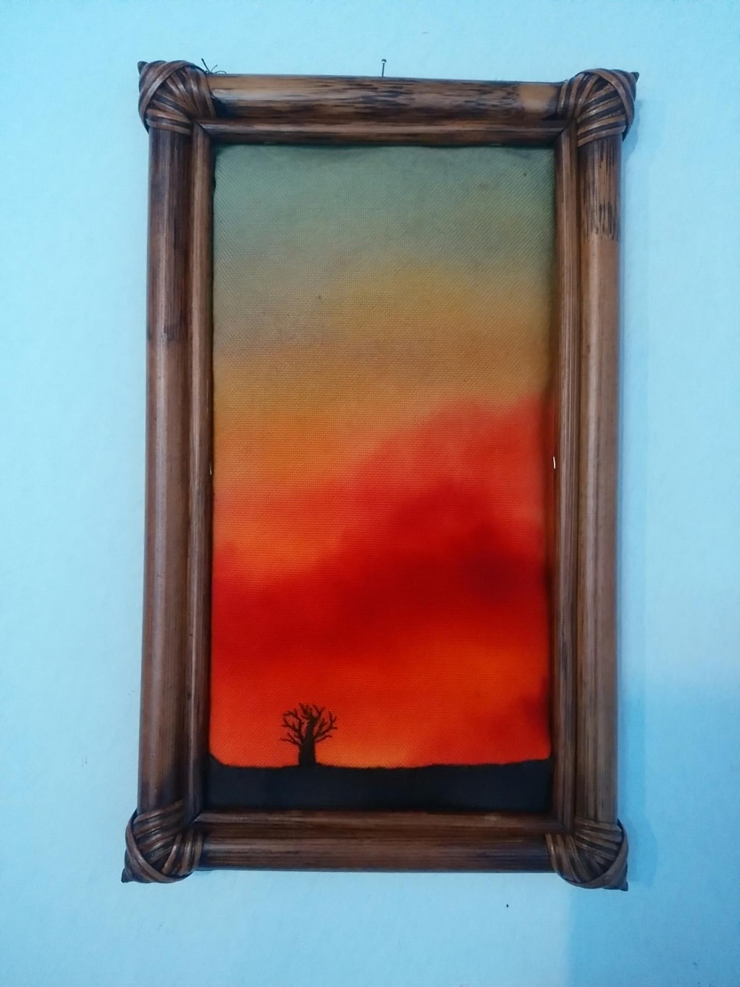布絵 額絵 竹額 刺繍 art 空 雲 木 バオバブ 風景