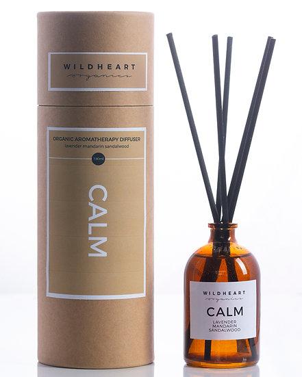 diffusore con bastoncini Calm di wildheart organics è riccodi oliessenziali puri di lavanda, mandarinoe sandalo