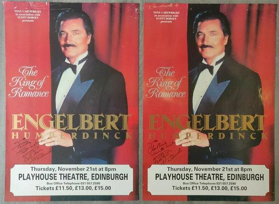 Engelbert Humperdinck Signed Posters (X2) from Edinburgh Playhouse, 1991