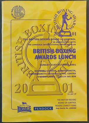 Sir Henry Cooper Signed British Boxing Awards Programme - 2001