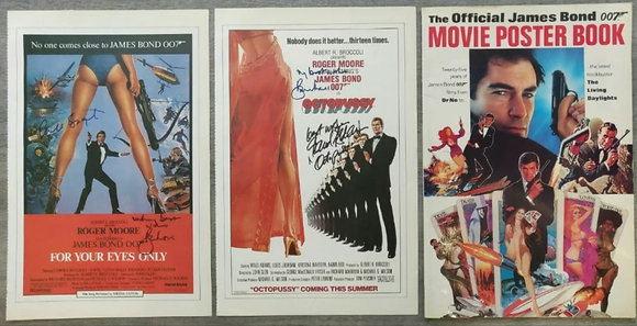 Roger Moore, Maud Adams & Carole Bouquet Signed Posters (X2) + James Bond Book