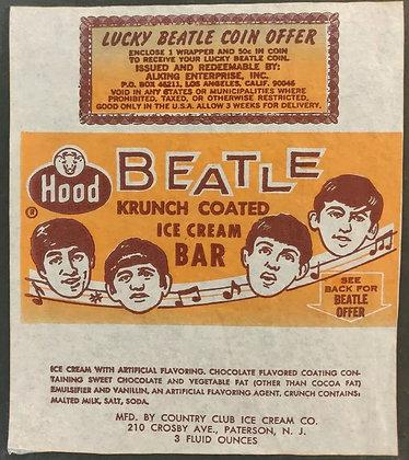 The Beatles Original Krunch Coated Ice Cream Bar Wrapper from Hood - 1964