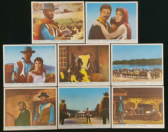 A Fistful Of Dollars UK Lobby Card Set Of 8 - Clint Eastwood - 1964 - FOH Cards