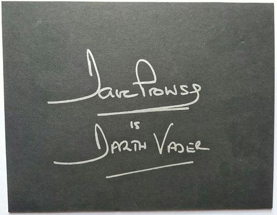 Dave Prowse Signed Card - Darth Vader, Star Wars