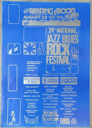 Reading Festival 1986 Lineup Poster - Killing Joke, Saxon, Hawkwind
