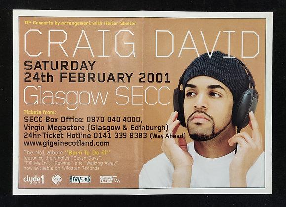 Craig David Promo Poster from Glasgow 2001