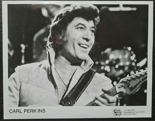 Carl Perkins Signed Promo Photo - Trans World Artist - 1987