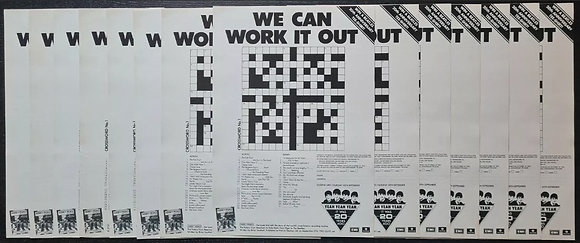 The Beatles 20th Anniversary Crossword Promo Leaflets (X14) - 1982