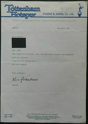 Keith Burkinshaw Signed Letter on Tottenham Hotspur Headed Paper from 1983