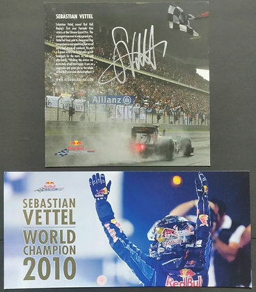 Sebastian Vettel Signed Red Bull Racing Team Drivers 2009 Promo Card + 2010 card