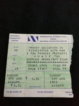 David Bowie 1983 Birmingham Ticket