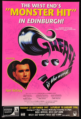 Grease Is The Word Signed Poster Edinburgh Playhouse 1997/98
