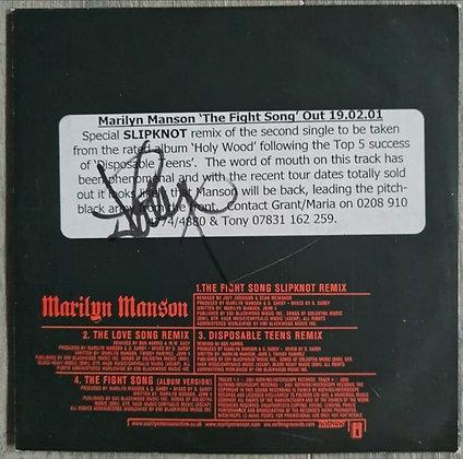 Joey Jordison Signed Marilyn Manson 'The Fight Song' Remix Promo CD - Slipknot