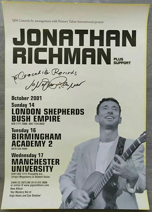 Jonathan Richman Signed UK Tour Poster, 2001 - The Modern Lovers