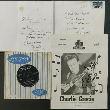 Charlie Gracie Signed Sheet & Card w/ Envelope + Vinyl - Owned By Tony Prince
