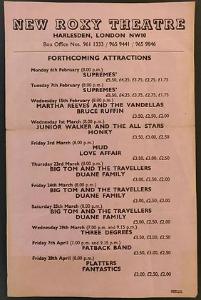 New Roxy Theatre Harlesden, London Flyer from 1978 - Supremes, Three Degrees