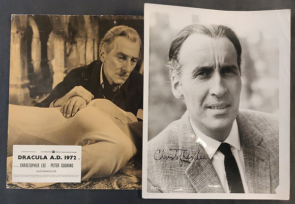 Christopher Lee Signed Photo + Dracula A.D. 1972 Lobby/FOH Card